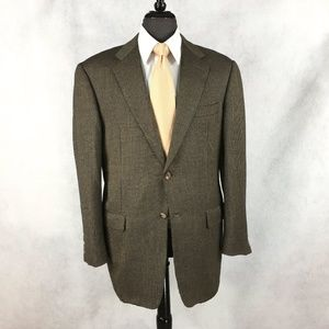 Hickey Freeman cashmere brown tan Birdseye blazer